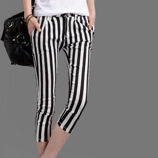 On The Block - Striped Cropped Slim-Fit Pants