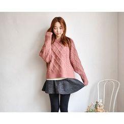 GOROKE - Wool Blend Waffle-Knit Sweater