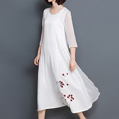 Diosa - 3/4-Sleeve Chiffon Midi Dress