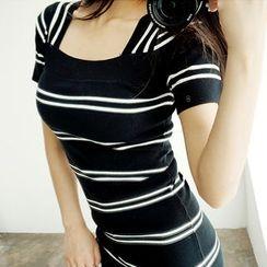 chuu - Square-Neck Stripe Knit Bodycon Dress