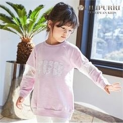LILIPURRI - Girls Lettering Lace-Trim Sweatshirt