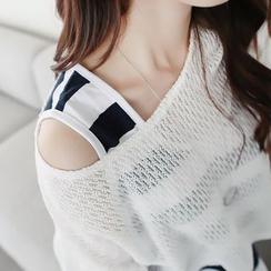 CLICK - Set: Symmetric-Hem Knit Top + Sleeveless Striped Dress