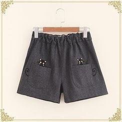 Fairyland - Cat Embroidered Woolen Shorts