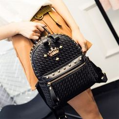 Lunaby - Studded Woven Faux Leather Backpack