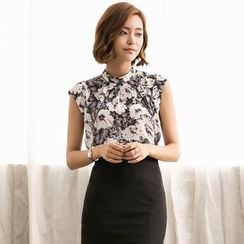 Eleganza - Sleeveless Floral Chiffon Top
