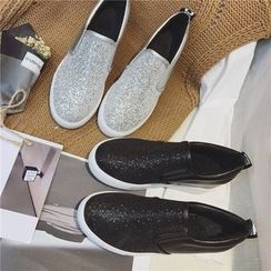 Hipsole - Faux-Leather Glitter Slip-Ons
