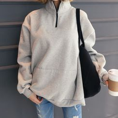 DANI LOVE - Zipped Mock-Neck Kangaroo-Pocket Pullover