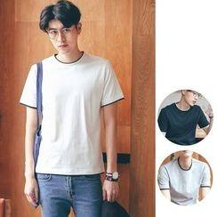 除一 - 拼色圆领短袖T恤