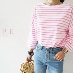NANING9 - Drop-Shoulder Striped T-Shirt