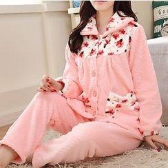 Katie Bloom - Pajama Set: Fleece Long-Sleeve Top + Pants