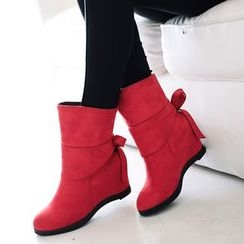 Pretty in Boots - Bow Hidden Wedge Short Boots