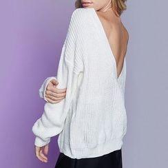 Obel - V Back Plain Sweater