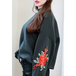 Dalkong - Mock-Neck Floral Embroidered Sweatshirt