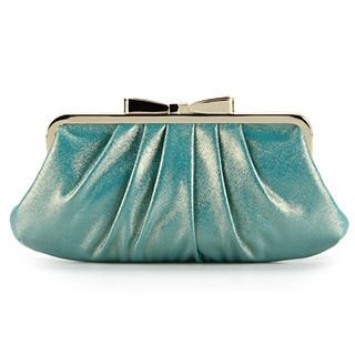 Ethel - Bow-Accent Shimmer Shirred Clutch