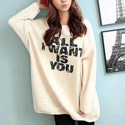 CLICK - Brushed-Fleece Sweater Dress