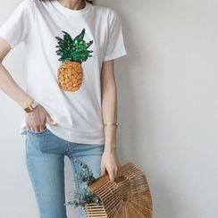 STYLEBYYAM - Glittered Pineapple Accent T-Shirt