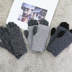 NANING9 - 羊毛混紡羅紋針織手套