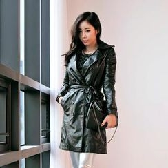 GUMZZI - Faux-Leather Trench Coat