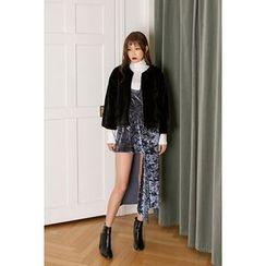 migunstyle - Zip-Up Faux-Fur Jacket