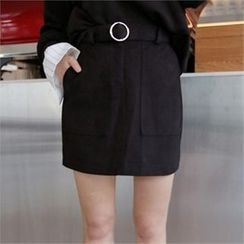 QNIGIRLS - A-Line Mini Skirt with Belt