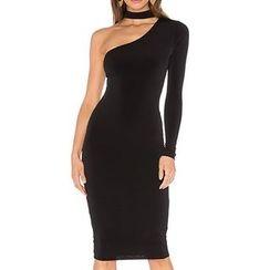 Obel - Plain One Shoulder Midi Dress