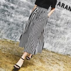 Jack Grace - Striped Chiffon Wide-Leg Pants
