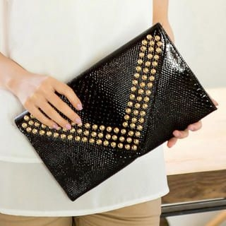 CatWorld - Croc-Grain Studded Clutch