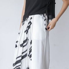 Sens Collection - Patterned Pleated Chiffon Culottes