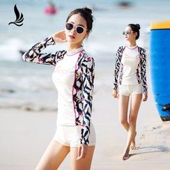 SANQI - Set: Print Rashguard + Swim Shorts