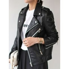 STYLEBYYAM - Faux-Leather Zip-Accent Biker Jacket