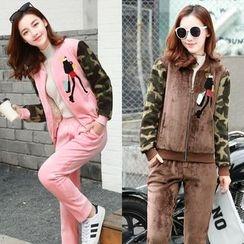 AiSun - Set: Camouflage Panel Fleece Jacket + Pants