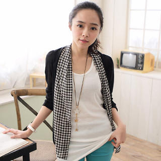 Houndstooth-Panel Cardigan