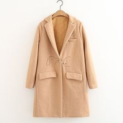 ninna nanna - Plain Embroidered Lapel Wool Coat