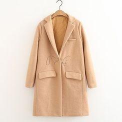 ninna nanna - 純色刺繡翻領羊毛大衣
