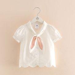貝殼童裝 - 童裝短袖領結帶襯衫