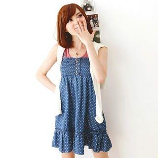 Tokyo Fashion - Ruffle-Hem Dotted Denim Dress