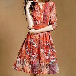 Hazie - Printed V-Neck Chiffon Dress