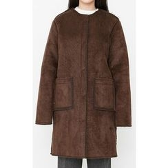 Someday, if - Collarless Faux-Shearling Coat