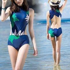 Sirene - Floral Open Back Swimsuit