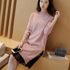 Yamster - Set: Mock-neck Long Knit Top + Lace Dress