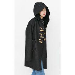 Someday, if - Hooded Fleece-Lined Denim Duffle Coat