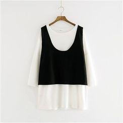 Storyland - Set: Long-Sleeve T-Shirt Dress + Vest