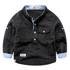 DEARIE - Kids Band Collar Half-Placket Shirt