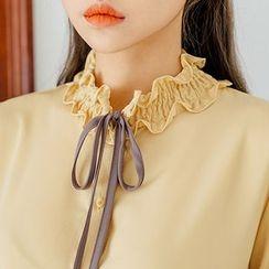 chuu - Ribbon-Neck Smock-Detail Blouse