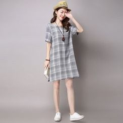 Splashmix - Short-Sleeve Plaid Dress