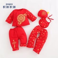 JIMIJIMI - Baby Set: Buttoned Top + Pants + Open-Crotch Pants + Hat + Bib