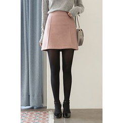 CHERRYKOKO - Seam-Trim Wool Blend A-Line Mini Skirt