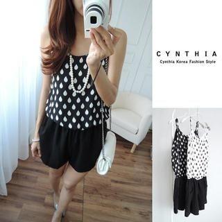 CYNTHIA - Spaghetti Strap Drop Print Playsuit