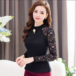 Lovebirds - Long-Sleeve Raglan Lace Top