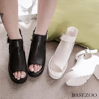 BaseZoo - Peep-Toe Chunky-Heel Pumps